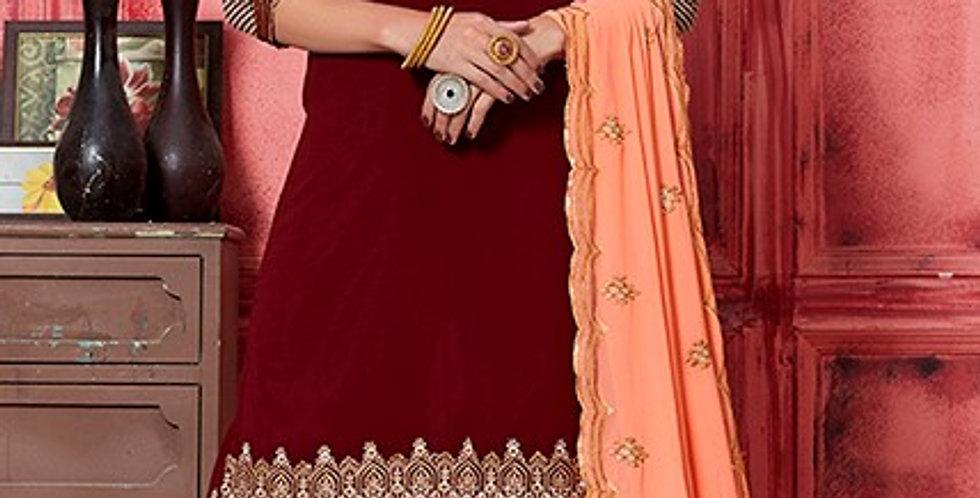 Phillauri Patiyala Georgette Salwar Kameez Maroon Color