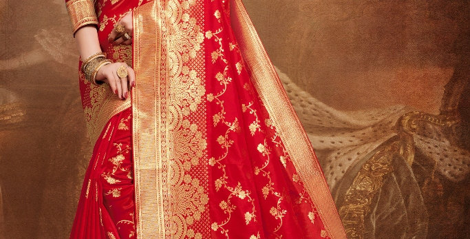 Banarasi Silk Sarees with Heavy Thread Embroidery Work