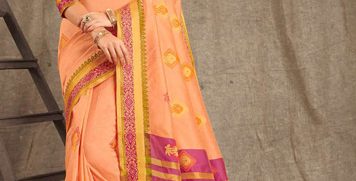 A Pretty Traditional Look  Peach Color Paired With Majenta Pink Colored blouse