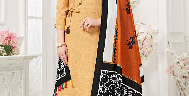 Festive Season With Beauty  Beige Color Readymade Gown with Duppatta