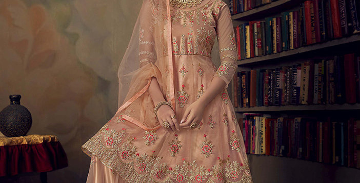 Grab This Very Beautiful Heavy Designer Peach Color Sharara Suit