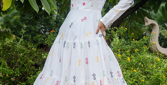 Semi Stiched Designer Floor Length Gown In White Color