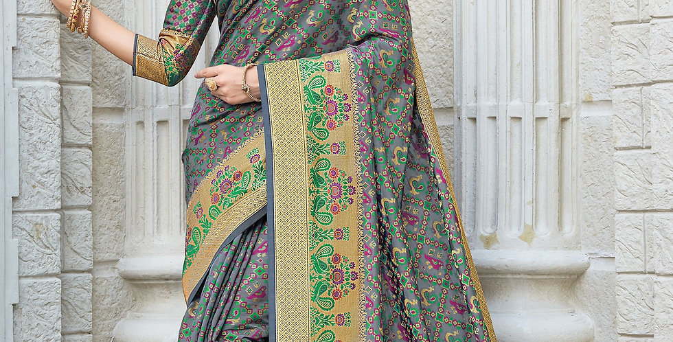 Grey Color Patola Silk Sarees for Occasion