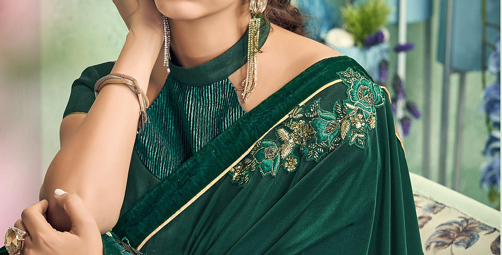 Uniqe Style Pine Green Color Art Silk Saree with Fabric Lycra