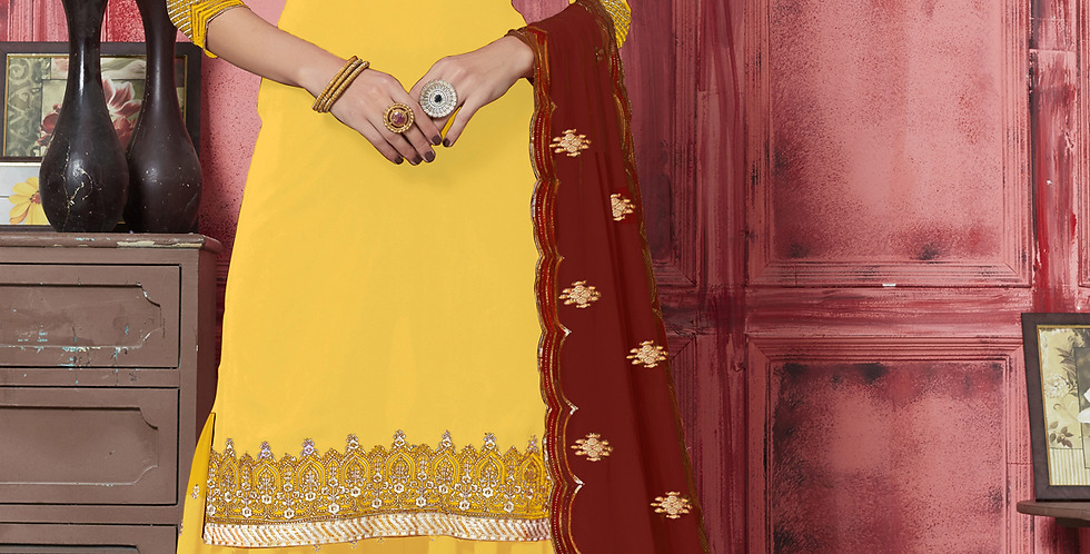 Phillauri Patiyala Georgette Salwar Kameez Yellow Color