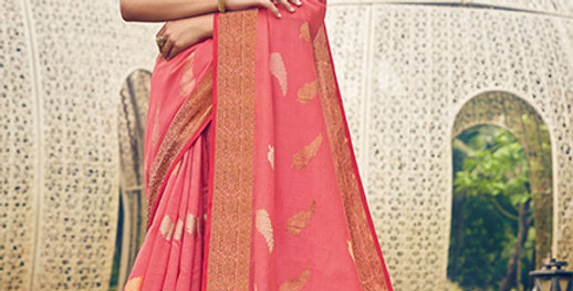 A Pretty Traditional Look  Pink Color Paired With Orange Colored blouse