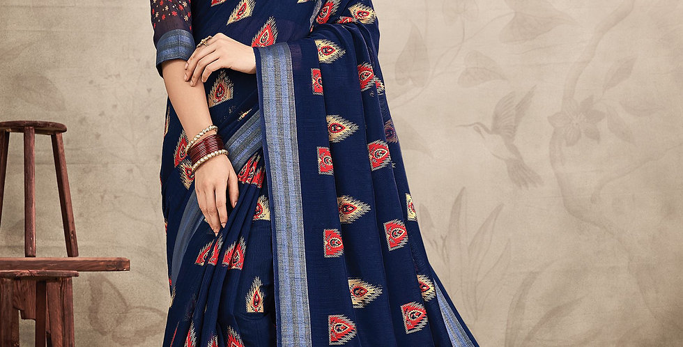 Chanderi Navy Blue Color Designer Saree