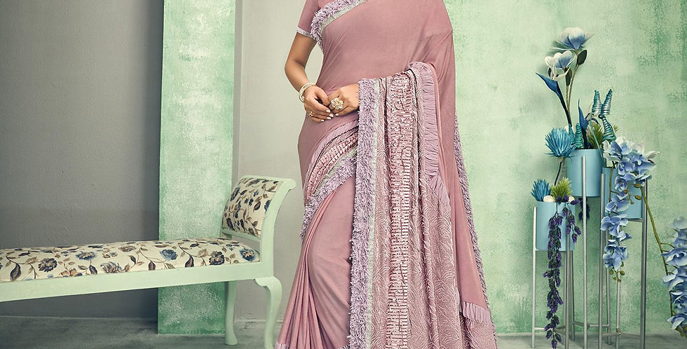 Uniqe Style Dusty pink Color Art Silk Saree with Fabric Lycra