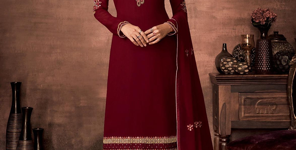 PartyWear Is A Very Pretty Designer Maroon Color Straight Suit