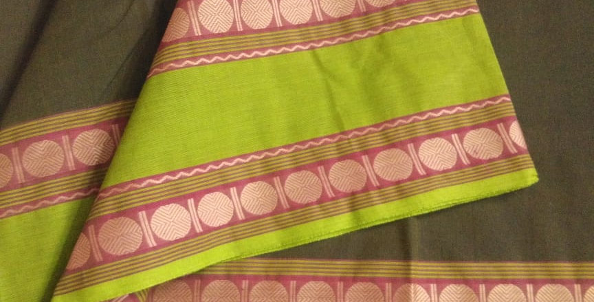 Traditional Cotton Sarees for Pongal Festive Grey Color