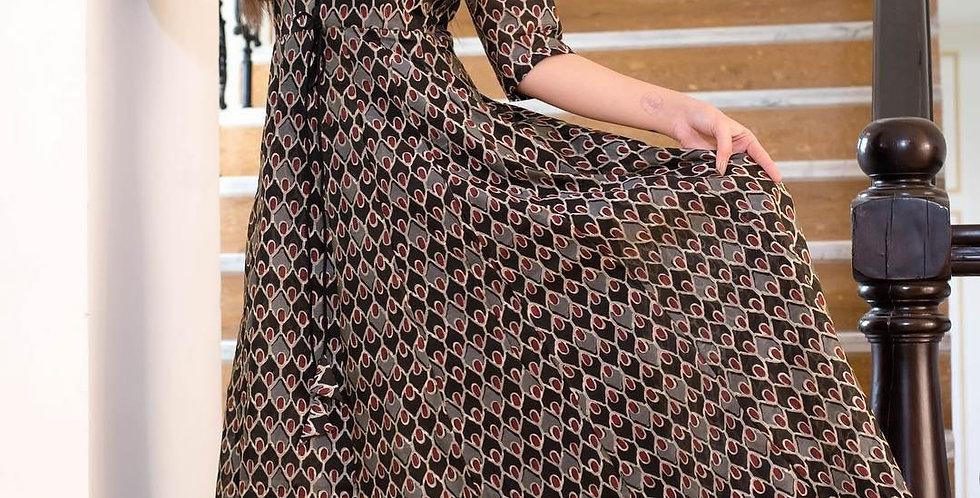 All Season Designer Grey Brown Pure Maslin Gown