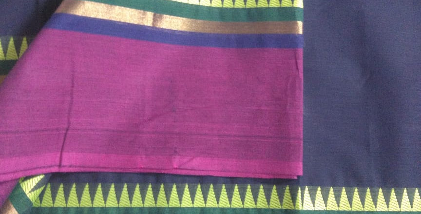 Traditional Cotton Sarees for Pongal Festive Navy Blue Color