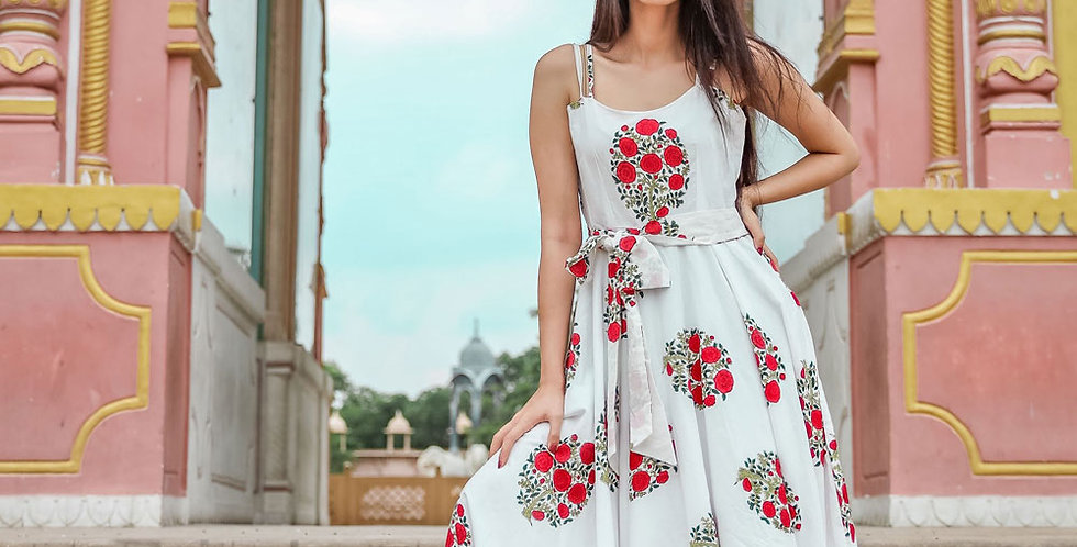 Designer Partywear Printed White Pure Maslin Gown