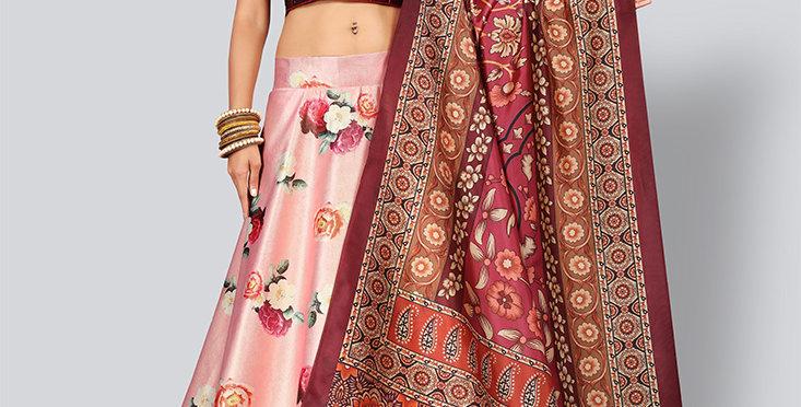 Pretty  Digital Printed Pink & Maroon Colored Designer Lehenga Choli Set