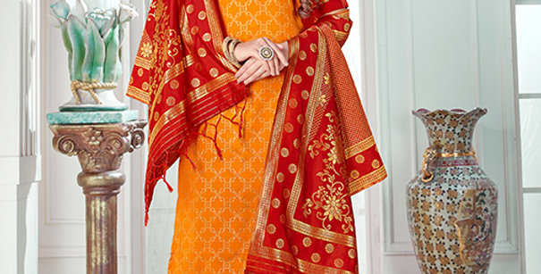Pretty Causal Wear Mustard Yellow Color Straight Salwar Suit