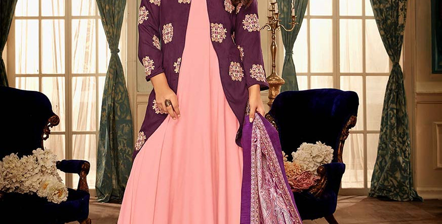 Festive Season With Beauty  Wine  Color Readymade Gown with Duppatta