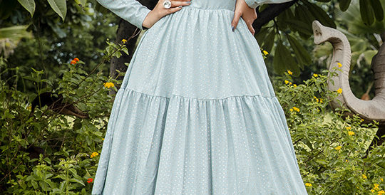 Semi Stiched Designer Floor Length Gown In Pastel Blue Color