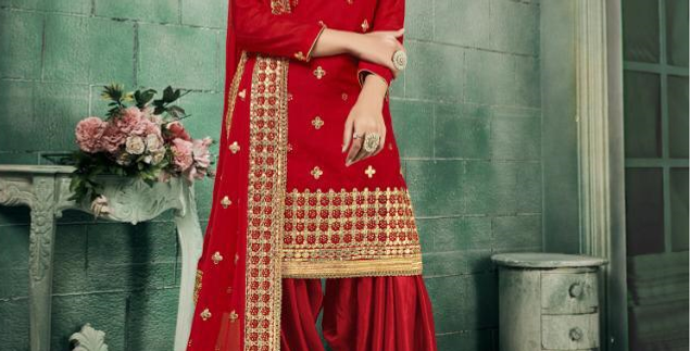 New stylish Red heavy Patiyala Suit Collection with Gota Patti work