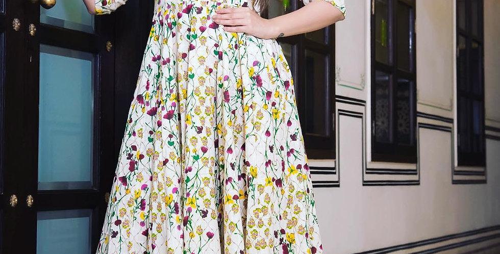 All Season Designer Cream Pure Maslin Gown