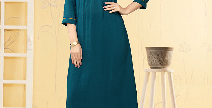 Pretty Style Designer Readymade one Piece Tunic & Kurti, Teal Blue