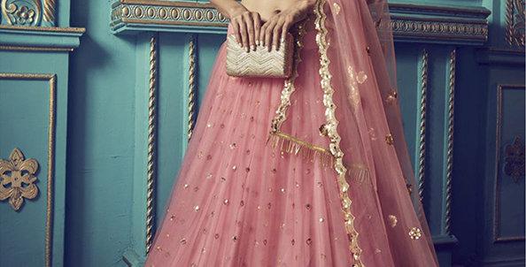 Pretty and Trendy Heavy Designer Pink Color Lehenga Choli Set