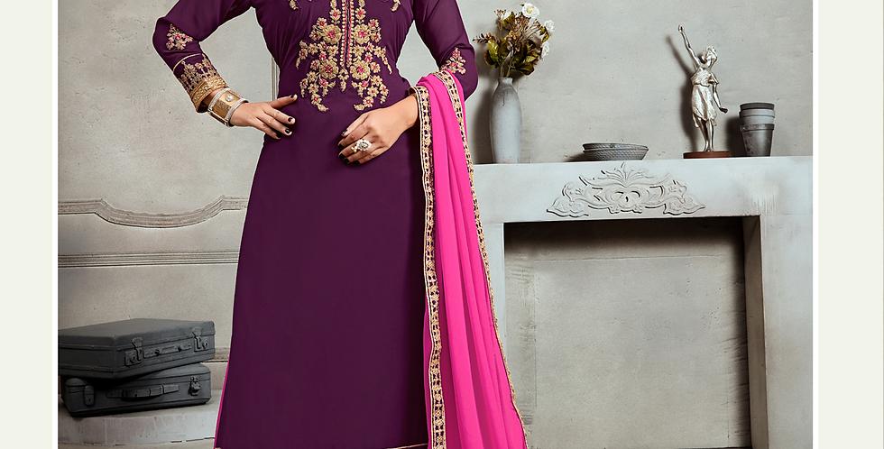 Phillauri Patiyala Blooming Georgette Salwar Kameez Purple Color