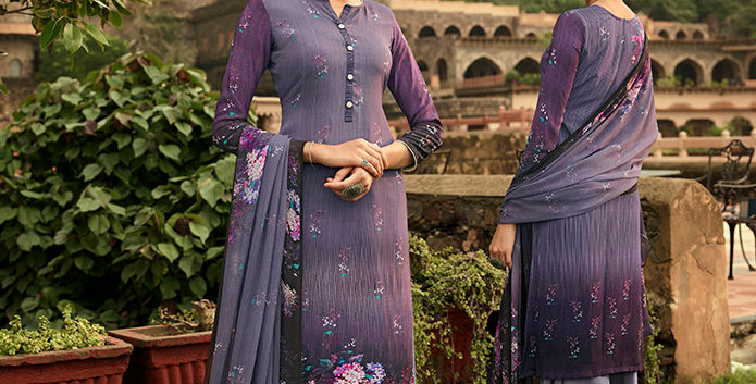 Pretty Causal Wear Purple Color Straight  Salwar Suit  Dress Material