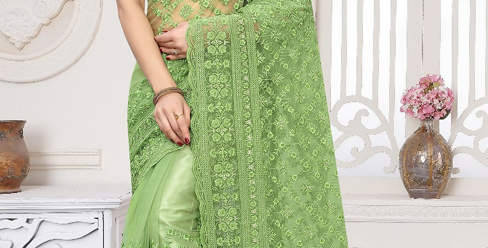 Pista Green Heavy Resham Embroidery Work with Heavy Blouse