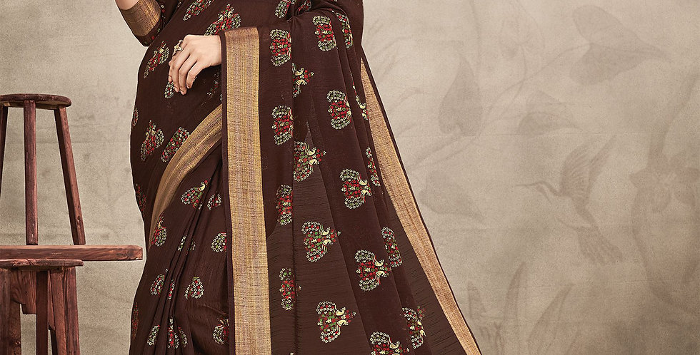 Chanderi Brown Color Designer Saree