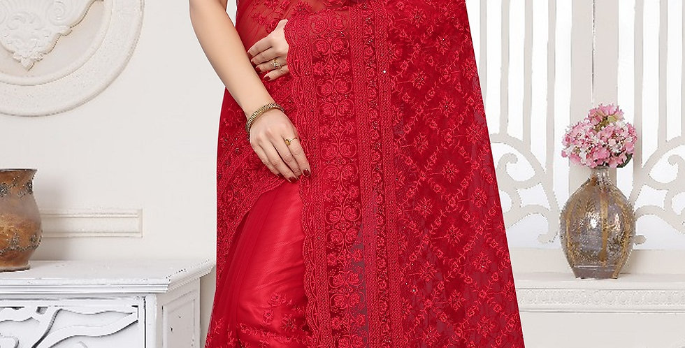 Red Heavy Resham Embroidery Work with Heavy Blouse