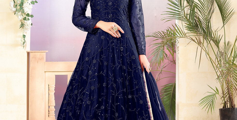 Very Beautiful Heavy Designer Navy Blue Color Floor Length Suit