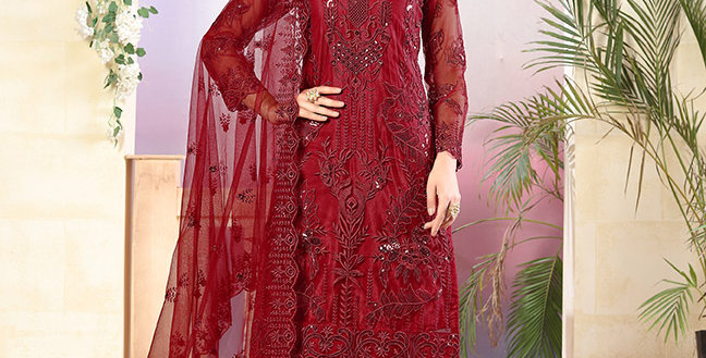 Grab This Very Pretty Designer Red Color Straight Salwar Suit