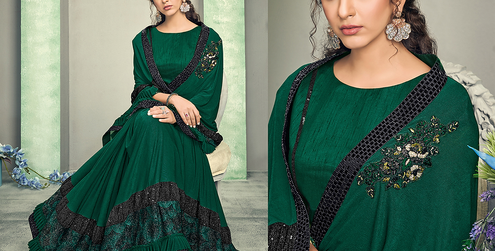 Uniqe Style Dark Green Color Art Silk Saree with Fabric Lycra