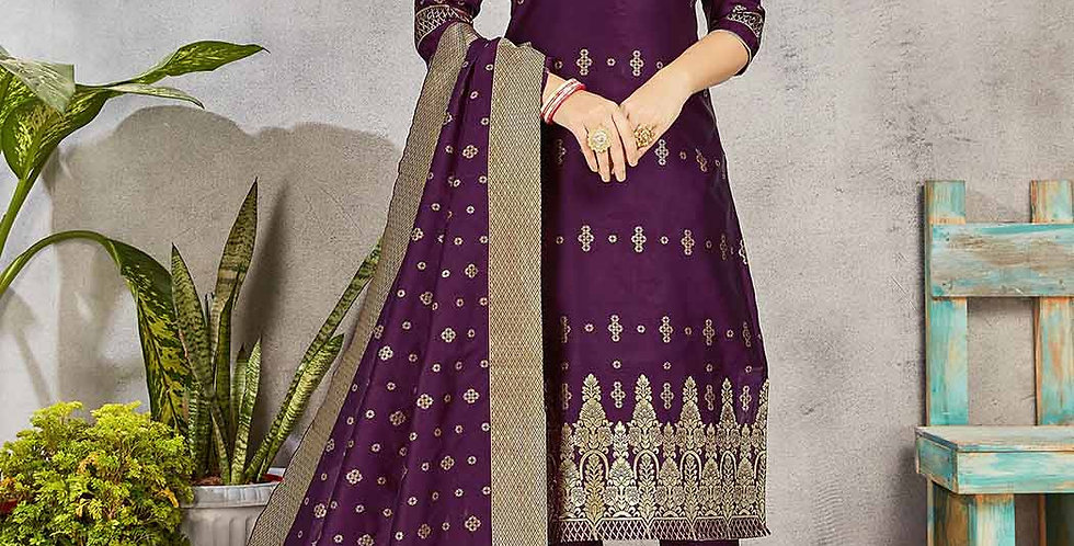 Festive Season Wearing this Designer Purple Color Straight Suit
