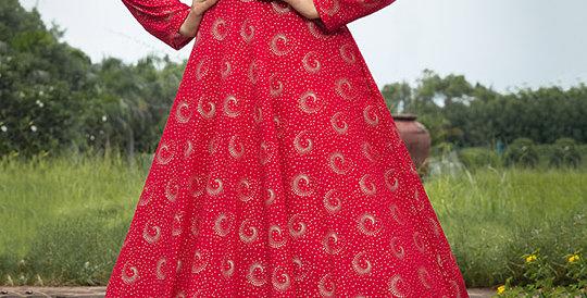 Semi Stiched Designer Floor Length Gown In Dark Pink Color