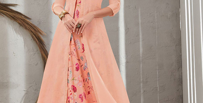Festive Season Wearing This Designer Peach Color Readymade Gown Two Layer