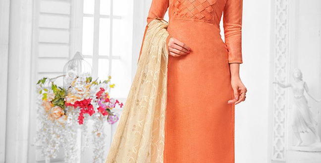 Here Is A Pretty Designer  Orange  Color Straight Salwar Suit