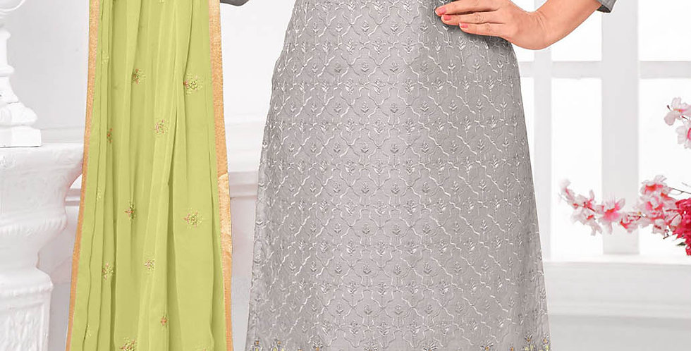 Here Is A Pretty Designer  Grey Color Straight Salwar Suit