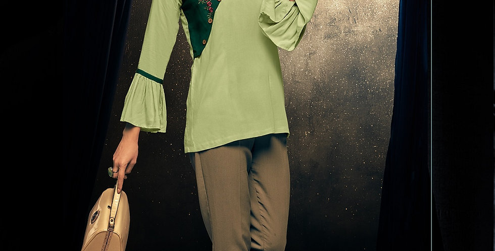 Readymade Kurtis (Fancy Top) In Green  Color