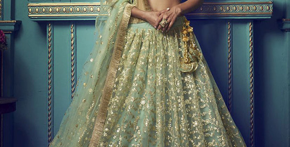 Pretty and Trendy Heavy Designer Light Green Color Lehenga Choli Set