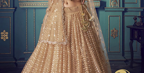 Pretty and Trendy Heavy Designer Light Brown Color Lehenga Choli Set
