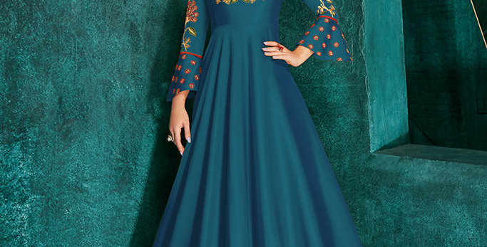 Festive Season Wearing This Designer Blue Color Readymade Gown