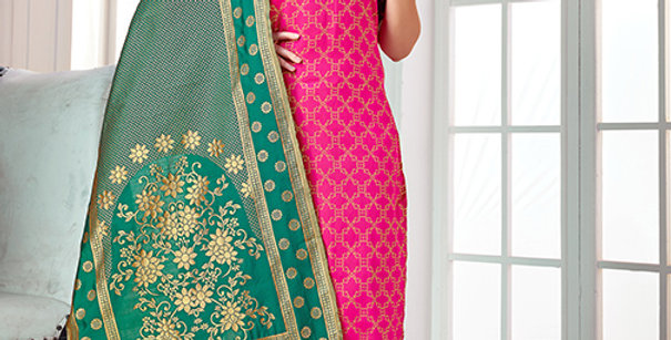 Pretty Causal Wear Rani Pink Color Straight Salwar Suit