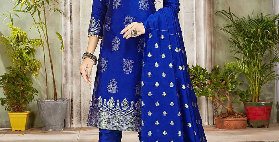 Festive Season Wearing this Designer Royal Blue Color Straight Suit