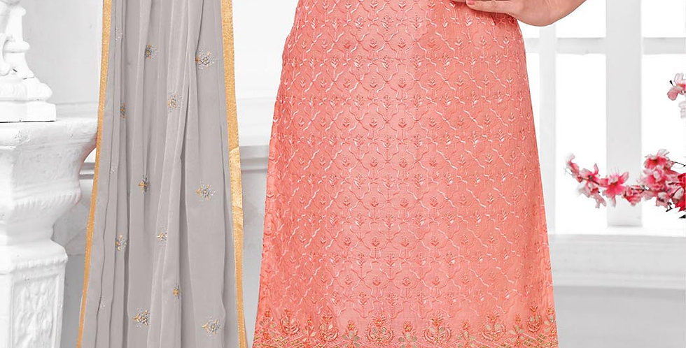 Here Is A Pretty Designer  Peach Color Straight Salwar Suit