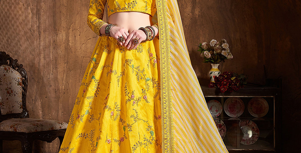 Pretty Heavy Embriodery Yellow Colored  Designer Lehenga Choli Set