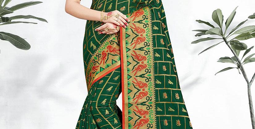 Uniqe Style Pretty Designer Dark Green Colored Heavy�Weaved Saree with Blouse