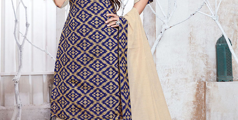 Hera is A  Pretty Designer Navy Blue and Cream Color  Straight Salwar Suit