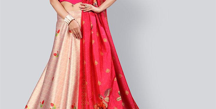 Pretty  Digital Printed Baby Pink & Rani Pink  Colored  Lehenga Choli Set