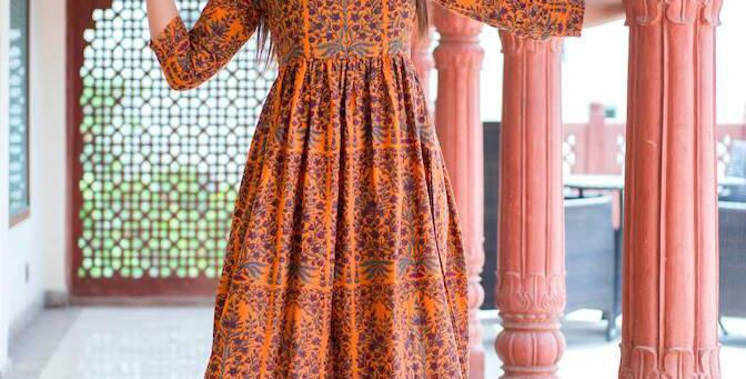 Designer Partywear Printed Dark Coral Pure Maslin Gown